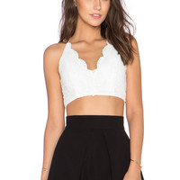 tiger Mist Gracie Lace Crop Top in White