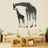 Wall Decal Vinyl Sticker Decals Art Decor Design Giraffe mother and baby Animals Jungle Safari Kids Children Nursery Baby Bedroom (r1037)