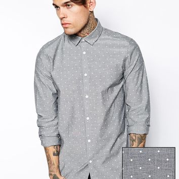 ASOS Smart Shirt in Long Sleeve with Chambray Polka Dot