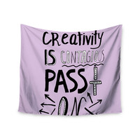 "Vasare Nar ""Creativity Is Contagious"" Lavender Pastel Wall Tapestry"
