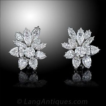 Glamorous Harry Winston Style Diamond Clip Earrings - 20-1-1436 - Lang Antiques