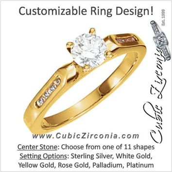 Cubic Zirconia Engagement Ring- The Jayme (Customizable 9-stone Cathedral Setting with Tiny Round Channel Accents)