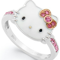 Hello Kitty Sterling Silver Pink Crystal and Enamel Face Ring