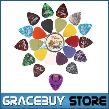 Pick Set! Guitar Picks Mediators Mixed 22pcs Matte ABS And Celluloid Plectrum Palheta With 2pcs Pick Holders Free