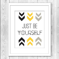Print Be Yourself Typography Quote Inspirational Arrows Gold Silver Home Decor Wall Decor Wall Art