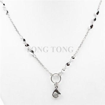 Newest style! 32''(80cm) silver 316L stainless steel Pendant Necklace Floating Charm Locket Link Chain