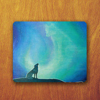 Wolf Howling Painting Mouse Pad Beautiful Shadow Art MousePad Watercolor Office Pad Work Accessory Personalized Custom Gift
