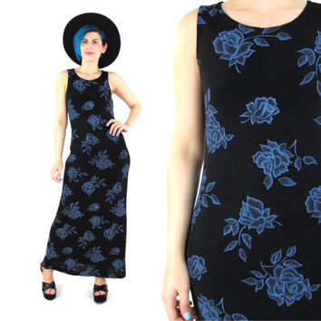 90s Floral Bodycon Maxi Dress Grunge Floral Print Dress Stretchy Spandex Black Blue Floral Boho Sleeveless Summer Column Dress (XS/S/M)