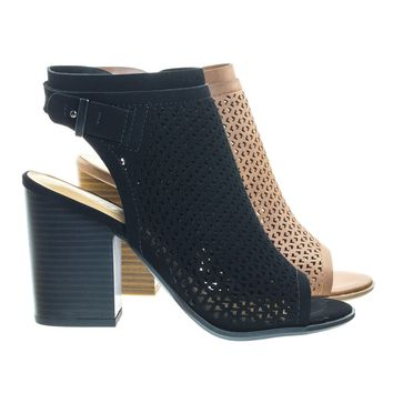 Jamal Black by Soda, Stack Block Heel Perforated Pattern Shootie, Western Bootie Sandal