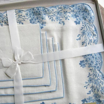 Set of 4 Blue Floral Linen Placemats w/ 4 Napkins; Pure Linen Place Linens by Bucilla; Midcentury Cottage Chic Napkins/Place Mats