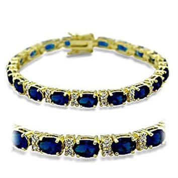415504 Gold Brass Bracelet with Synthetic in Sapphire
