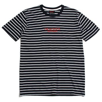 Gracious MFG. x Motivation Embroidered Striped T-Shirt Navy / White
