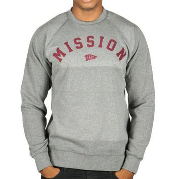 On A Mission Crewneck in grey and maroon