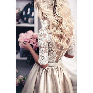 champagne prom dresses 2017 lace prom party dress with sleeves evening dress for graduation vestido de festa long prom dresses