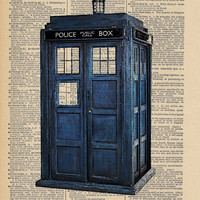 The Original TARDIS Doctor Who Geek Print on an Antique Upcycled Bookpage