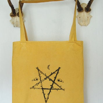 pentagram pentacle tote canvas bag ~ screen printed ~ occult ~ witchcraft ~ crescent moon ~ bird skulls ~
