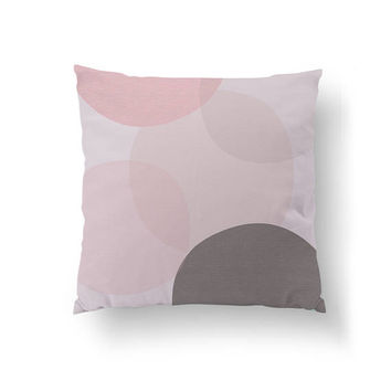 Pastel Circle Decor, Rose Pillow, Pink Gray Pastel, Home Decor, Cushion Cover, Simple Decor, Watercolor Art, Throw Pillow, Decorative Pillow