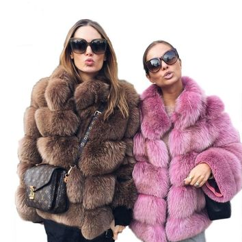 New FABULOUS Faux Fox Fur Coat/Jacket With Stand Up Collar Long Sleeve FREE SHIPPING
