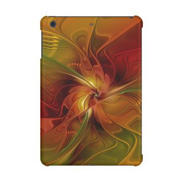 Abstract Red Orange Brown Green Fractal Art Flower iPad Mini Cover