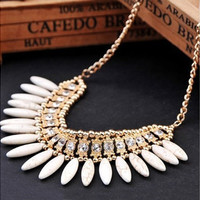 Women Crystal Pendant Choker Chunky Statement Bib Necklace Chain 1PC [8081687495]