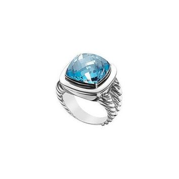 Blue Topaz Rope Ring : 14K White Gold - 10.00 CT TGW