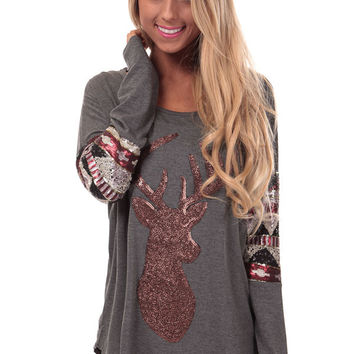 Grey Top with Sequin Reindeer and Tribal Detail