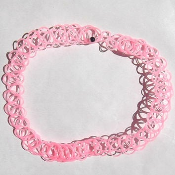 Pastel pink double string 90s tattoo choker