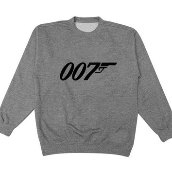 007 sweater Gray Sweatshirt Crewneck Men or Women for Unisex Size with variant colour