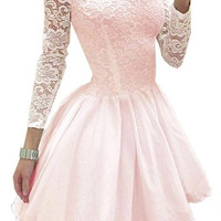 Pink/Black A-line Homecoming Dress,Long Sleeves Lace Homecoming Dress