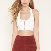 Lace-Up Cropped Halter Top | Forever 21 - 2000168413