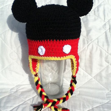 Mister Mouse hat with earflaps and braids, Newborn to Adult