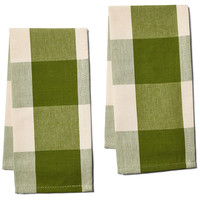 Buffalo Check Tea Towels, Green, Set of 2, Tea towels & Dishtowels