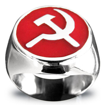 Sterling Silver Hammer and Sickle Ring CCCP Communist USSR with Red Enamel
