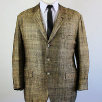 60s Shiny Sport Coat / Silk Sport Coat / Gold Sport Coat / Suit Jacket / Vintage / Mens / Medium / GOGOVINTAGE