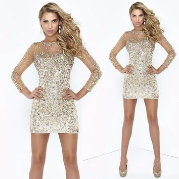 Dazzling Sheath Rhinestone Beaded Party Cocktail Dresses Homecoming Illusion Long Sleeve Shining Mini Short Prom Dress