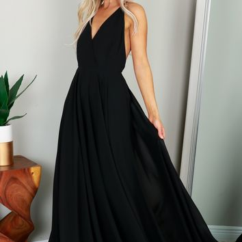 V-neck Gown Black