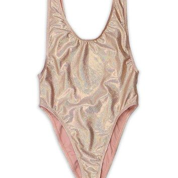 Metallic Rose Gold One Piece Swimsuit