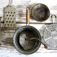 Vintage Metal Farmhouse gadgets. slaw or cheese graters and food mill