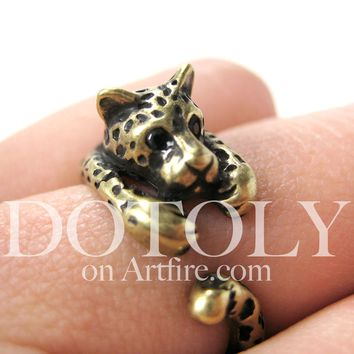 Leopard Jaguar Animal Wrap Around Ring in Brass - Sizes 4 to 9 Available