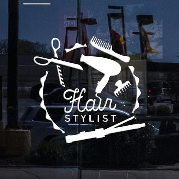 Window SignBoard and Vinyl Wall Decal Hair Stylist Barber Tools Beauty Stickers Mural Unique Gift (404igw)