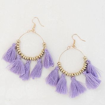 Steal The Show Tassel Earrings - Lavender