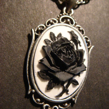 Black and White Rose Cameo Necklace in Antique by CreepyCreationz
