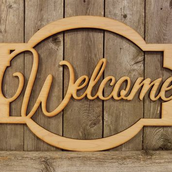 Welcome- laser cut wood sign