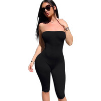2017 Solid Sexy Strapless Backless Bodycon Bandage Spandex Summer Jumpsuit Women Sexy Rompers One Piece Bodysuits For Women