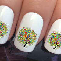 nail decals #327 tree of life flowers and butterflies water transfers stickers manicure art set x24