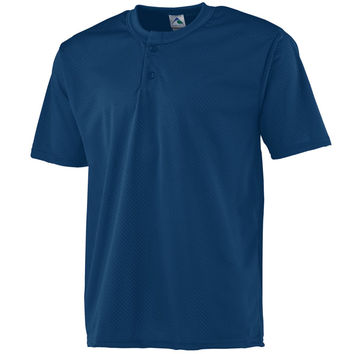 Augusta 444Mesh Two-Button Baseball Jersey-Youth - Navy