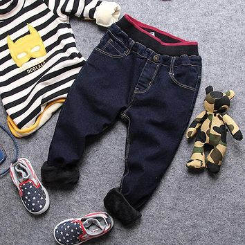 only jeans 1pc 2-8Y new 2017 winter boys casual thick fleec inside warm denim pant kids winter jeans children pant boys jeans