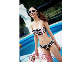 Cute Polka Dot Bow Knot Layered Ruffle Bikini Set Bathing Suit Swimsuit SW138