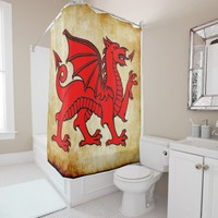 welsh dragon shower curtain