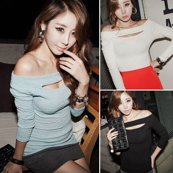 New Sexy Women  Long Sleeve Off Shoulder Top Blouse T-shirt Hot  F_F